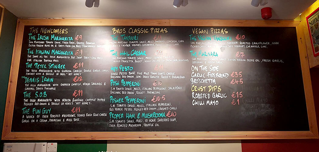 The Dough Bro's Wood Fired Pizza Menu - Galway Explored