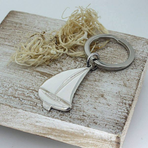 Silver Sailing Keyring - Personalised Sterling Silver Keyring with Engraved Message on Yacht Keyring to Celebrate Sailing & Yachting on Galway Bay with GalwayExplored.ie