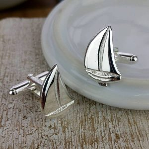 Silver Sail Boat Cufflinks on GalwayExplored.ie. Handcrafted Silver Yacht Sailing Cufflinks In Hallmarked 925 Silver
