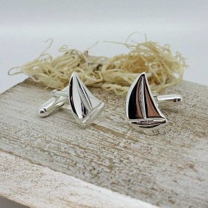 Silver Sail Boat Cufflinks on GalwayExplored.ie. Handcrafted Silver Yacht Sailing Cufflinks In Hallmarked 925 Silver