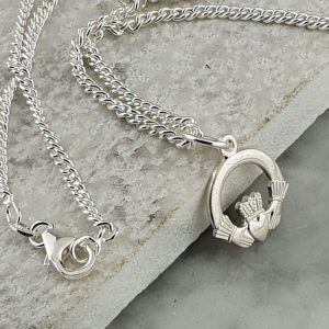 Silver Claddagh Pendant In 925 Silver. Handcrafted Galway Claddagh Pendant for Ladies in Hallmarked Silver on GalwayExplored.ie Claddagh Pendants