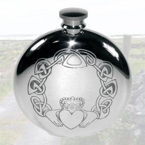Claddagh Hip Flask Personalised with Presentation Box For Irish Wedding. Free engraving on our Claddagh Hip Flask.