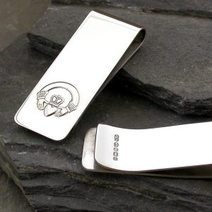 Claddagh Money Clip In Silver & Personalised - Galway Inspired Irish Claddagh Gift Engraved With Your Message with Gift Wrapping