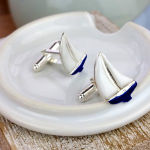 Enamelled Sailing Yacht Silver Cufflinks