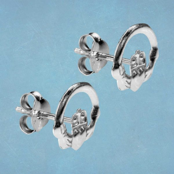 Silver Claddagh Earrings In 925 Silver. Handcrafted Galway Claddagh Stud Earrings for Ladies in Hallmarked 925 Silver.