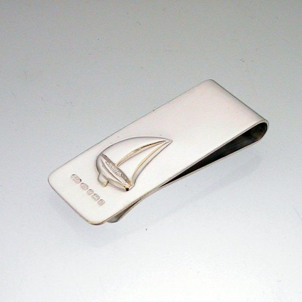 Silver Yacht Sailboat Money Clip. Can be personalised with engraved message.