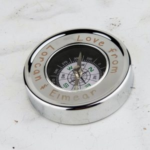 Father's Day Personalised Dad Compass. Desk & Pocket Compass in Brass with Silver Plating, Aluminium Box & FREE Engraving. Fathers Day Engraved Compass.